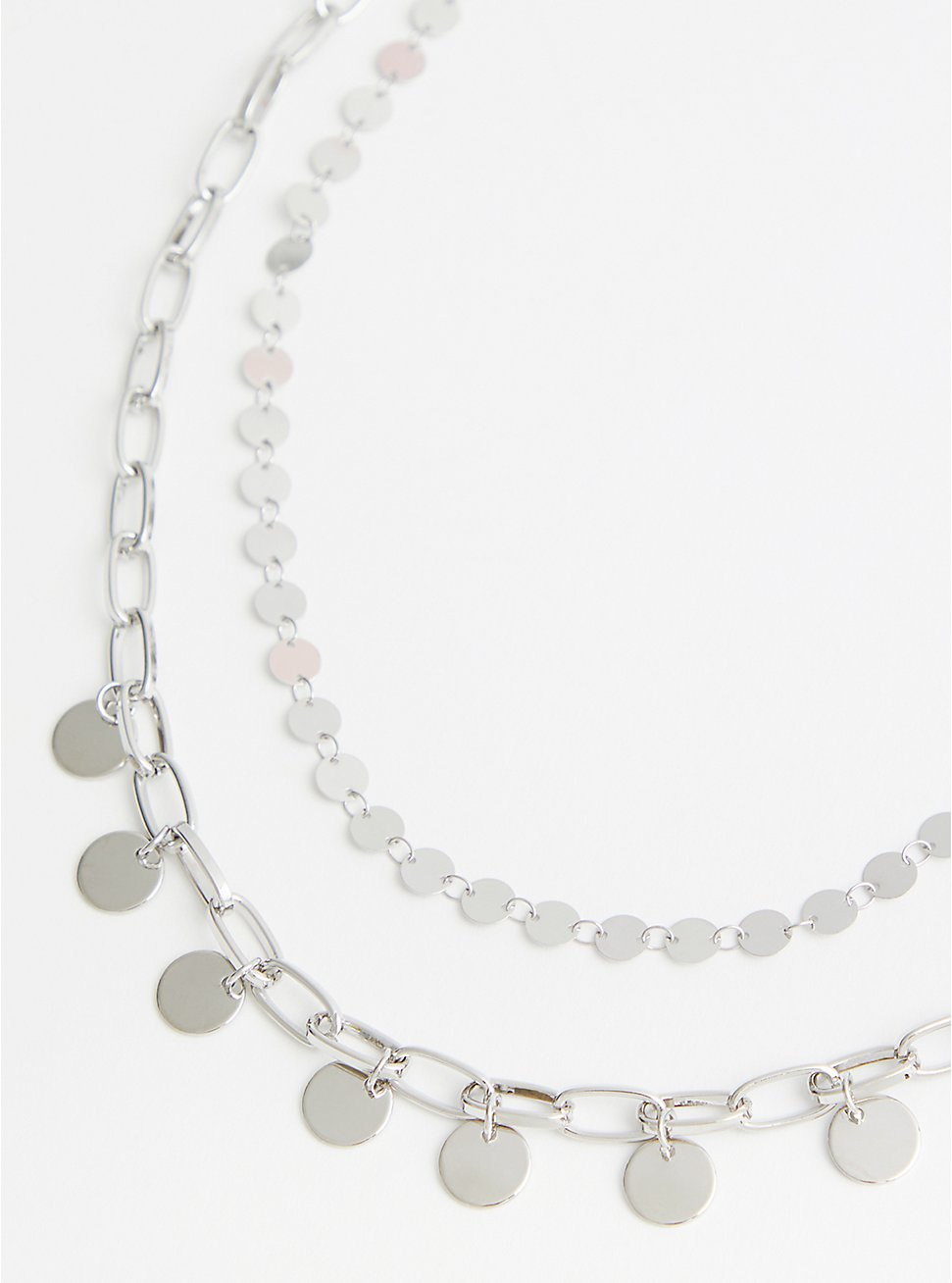 Silver Tone Disc & Link Layer Necklace, , hi-res