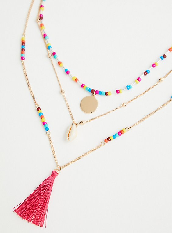Gold Tone Colorful Bead & Tassel Necklace, , hi-res