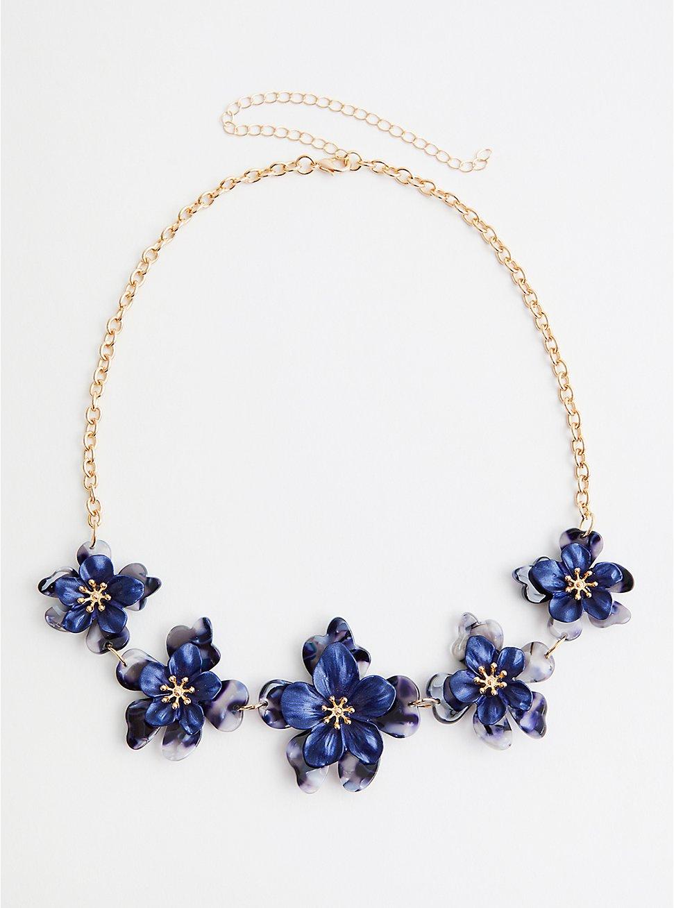 Navy Resin Matte Floral Statement Necklace, , hi-res