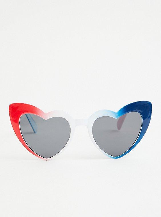 Plus Size Red White & Blue Heart Cat Eye Sunglasses, , hi-res