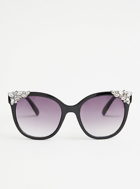 Black Rhinestone Corner Cat Eye, , hi-res