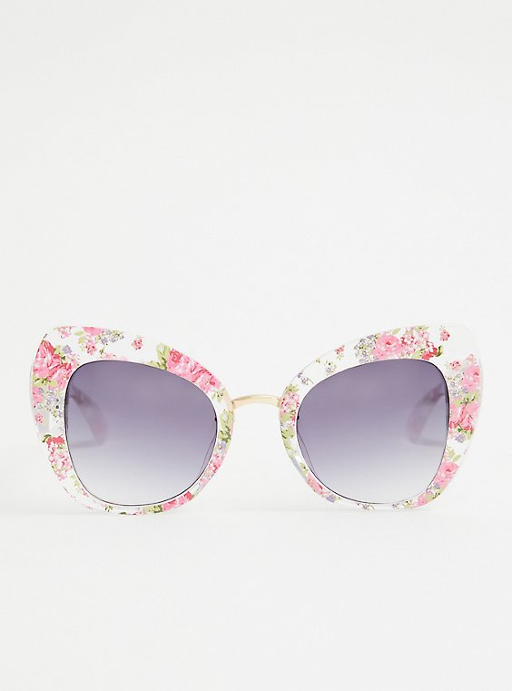 Pink Floral Cat Eye Sunglasses, , hi-res