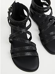 Black Rhinestone Gladiator Sandal (WW), , alternate