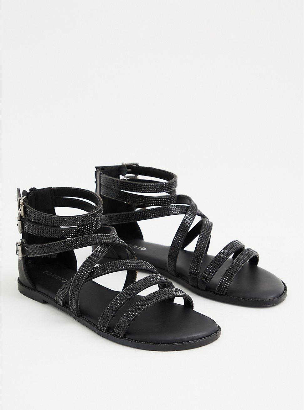 Black Rhinestone Gladiator Sandal (WW), , hi-res