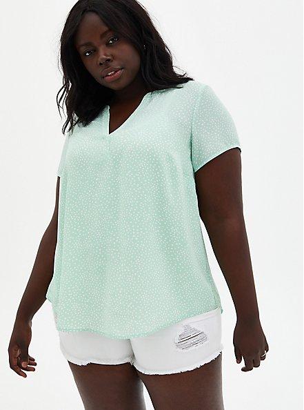 Green Dot Georgette Hi-Lo Blouse, DOTS - GREEN, hi-res