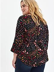 Harper - Black Floral Pullover Blouse , FLORAL - BLACK, alternate