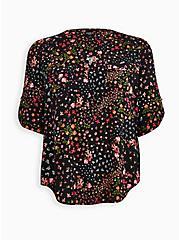 Harper - Black Floral Pullover Blouse , FLORAL - BLACK, hi-res