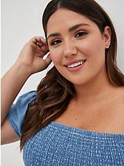 Plus Size Blue Chambray Off-Shoulder Smocked Skater Dress, CHAMBRAY, alternate