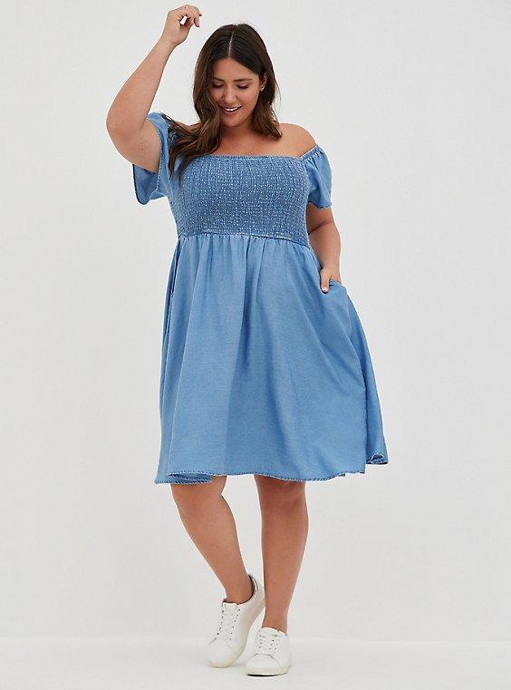 Plus Size Blue Chambray Off-Shoulder Smocked Skater Dress, , hi-res
