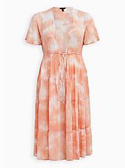 Peach Tie-Dye Clip-Dot Kimono, TIE DYE-PINK, hi-res