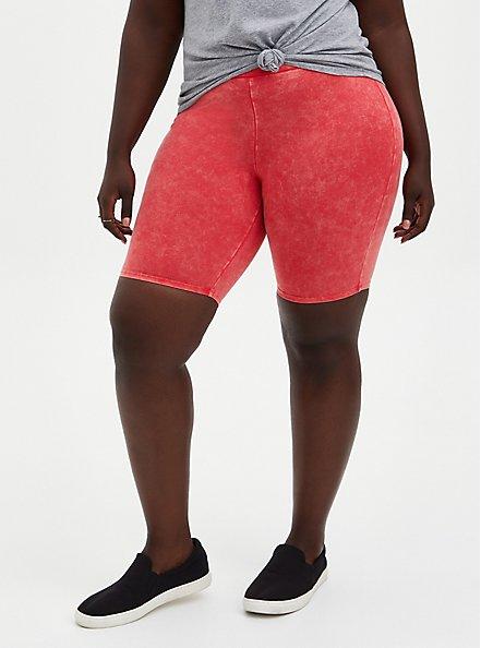 Berry Mineral Wash Bike Short , RED, alternate