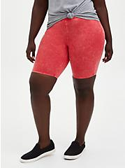 Plus Size Berry Mineral Wash Bike Short , RED, alternate