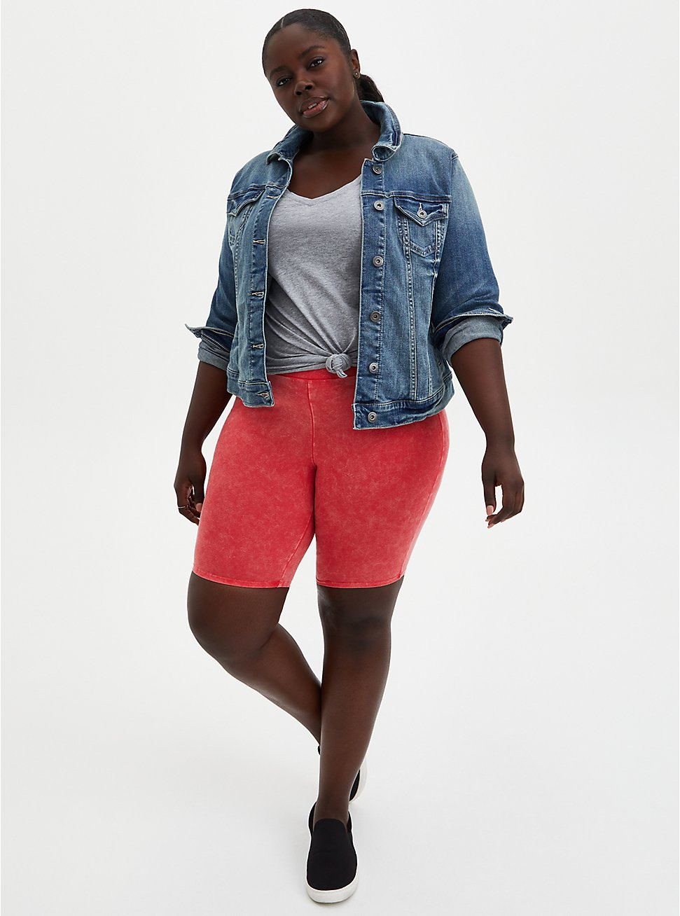 Plus Size Berry Mineral Wash Bike Short , RED, hi-res