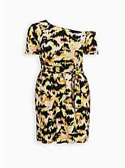 Plus Size Yellow Ikat Super Soft T-Shirt Dress , IKAT - YELLOW, hi-res