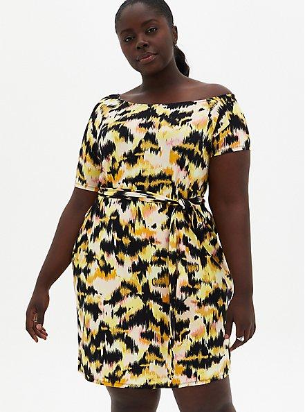 Yellow Ikat Super Soft T-Shirt Dress , IKAT - YELLOW, hi-res