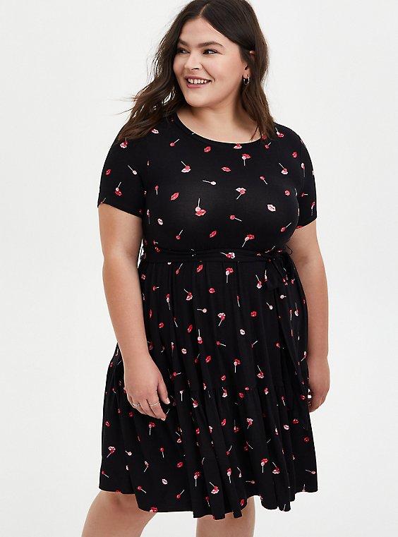 Black Lip Print Super Soft Tiered Mini Skater Dress, LIPS - BLACK, hi-res