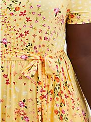 Yellow Floral Super Soft Tiered Mini Skater Dress , FLORAL - YELLOW, alternate