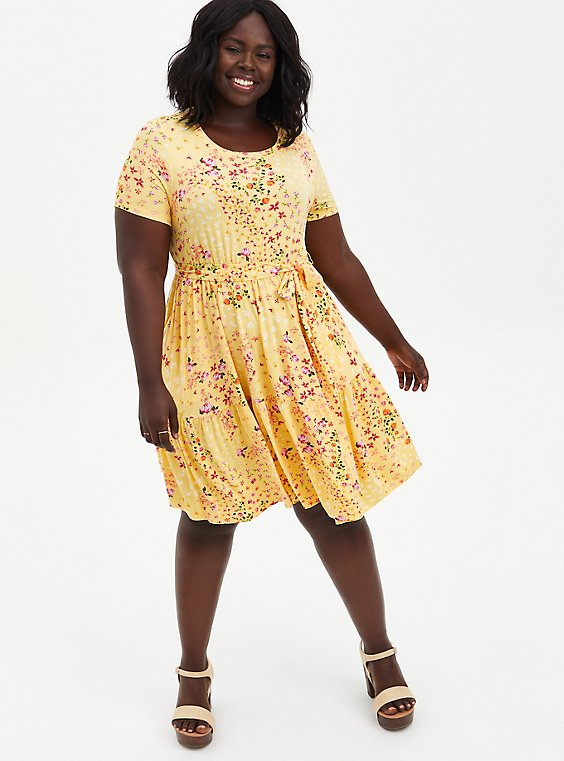 Yellow Floral Super Soft Tiered Mini Skater Dress , FLORAL - YELLOW, hi-res