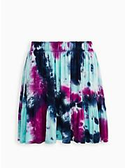 Purple Tie-Dye Super Soft Tiered Mini Circle Skirt, TIE DYE, hi-res