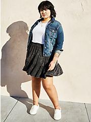 Black Wash Super Soft Tiered Mini Circle Skirt, MINERAL BLACK, alternate