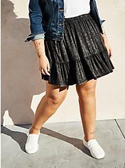 Black Wash Super Soft Tiered Mini Circle Skirt, MINERAL BLACK, hi-res