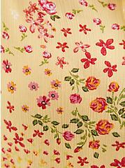 Yellow Floral Crinkle Gauze Eyelet Trim Top, FLORAL - YELLOW, alternate