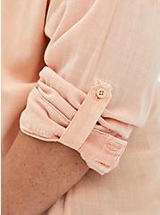 Drop Shoulder Button-Front Top - Mineral Wash Peach, PEACH NECTAR, alternate