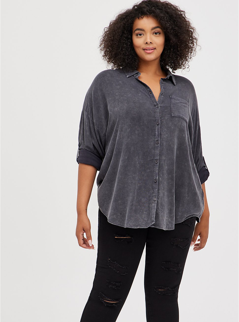Drop Shoulder Button-Front Top - Mineral Wash Grey, NINE IRON, hi-res
