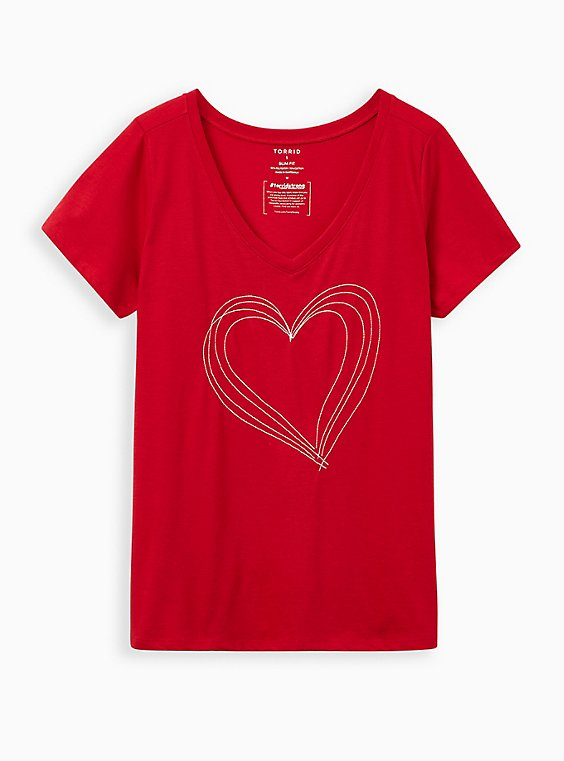 #TorridStrong Heart Slim Fit Tee - Red, JESTER RED, hi-res