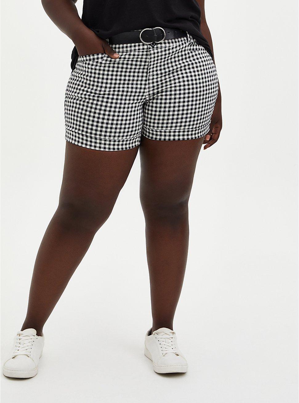 Belted Mid Short - Black & White Gingham Sateen, , hi-res