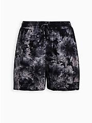 Black Tie-Dye Crinkle Gauze Short , DEEP BLACK, hi-res