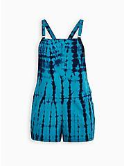 Blue Tie-Dye Linen Shortall, TIE DYE - BLYE, hi-res
