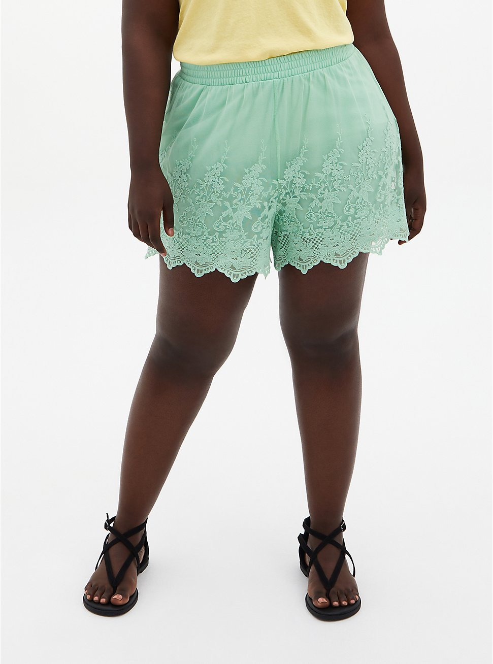 Embroidered Pull-On Short - Mesh Mint, GRAYED JADE, hi-res
