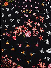Tie-Front Paperbag Mid Short - Black Floral Ponte, MULTI FORAL, alternate