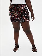 Tie-Front Paperbag Mid Short - Black Floral Ponte, MULTI FORAL, hi-res