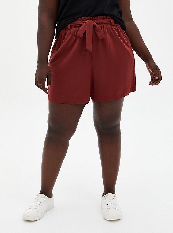 Plus Size Self-Tie Paperbag Mid Short - Brown Challis , MADDER BROWN, hi-res