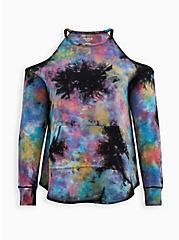Tie-Dye Terry Active Cold Shoulder Sweatshirt, TIE DYE, hi-res