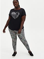 Tech Jersey Black Leopard Heart Wicking Active Tee , DEEP BLACK, alternate
