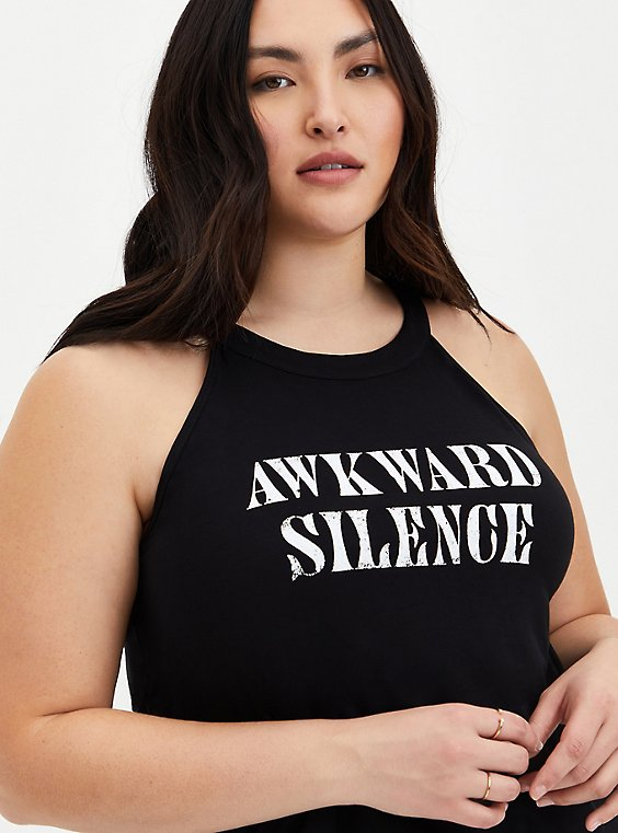 Super Soft Awkward Silence Black Tank, DEEP BLACK, hi-res