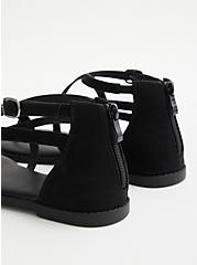 Black Faux Suede T-Strap Sandal (WW), BLACK, alternate