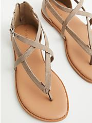 Taupe Faux Suede T-Strap Sandal (WW), TAUPE, alternate