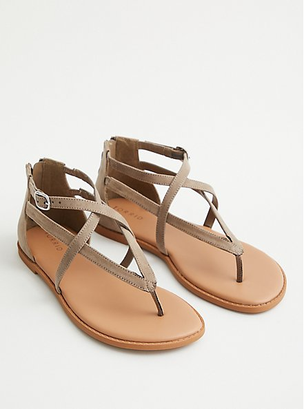 Taupe Faux Suede T-Strap Sandal (WW), TAUPE, hi-res
