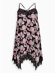 Black & Pink Skull Floral Hanky Hem Sleep Dress, MULTI, hi-res