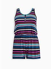 Super Soft Blue & Purple Stripe Sleep Romper , MULTI, hi-res