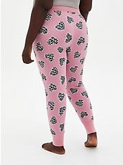 Plus Size  Pink Micro Modal Terry Cheetah Heart Sleep Leggings, MULTI, alternate