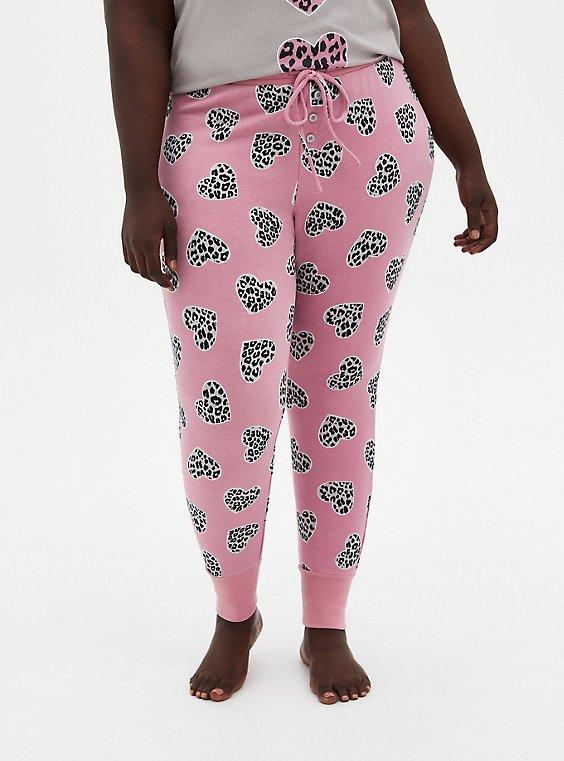 Plus Size  Pink Micro Modal Terry Cheetah Heart Sleep Leggings, , hi-res