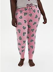 Plus Size  Pink Micro Modal Terry Cheetah Heart Sleep Leggings, MULTI, hi-res