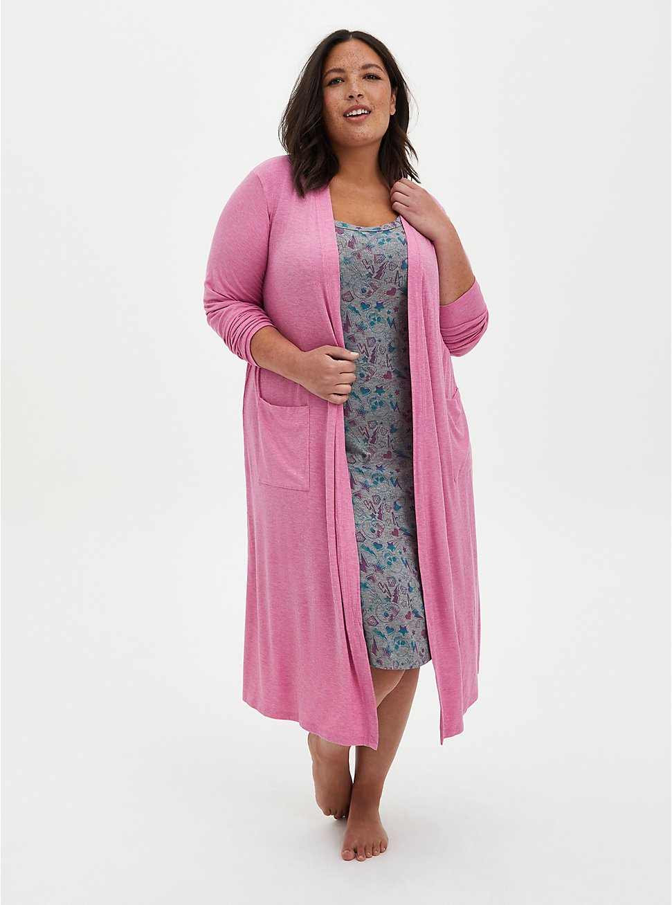 Plus Size Super Soft Rib Pink Sleep Duster Robe , PINK, hi-res