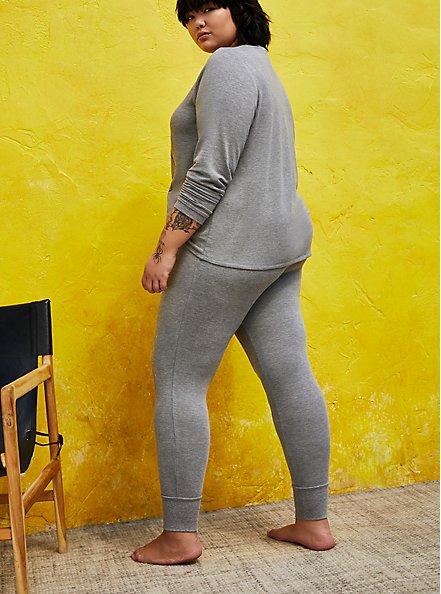 Plus Size Heather Grey Micro Modal Terry Skull Sleep Leggings, HEATHER GREY, alternate