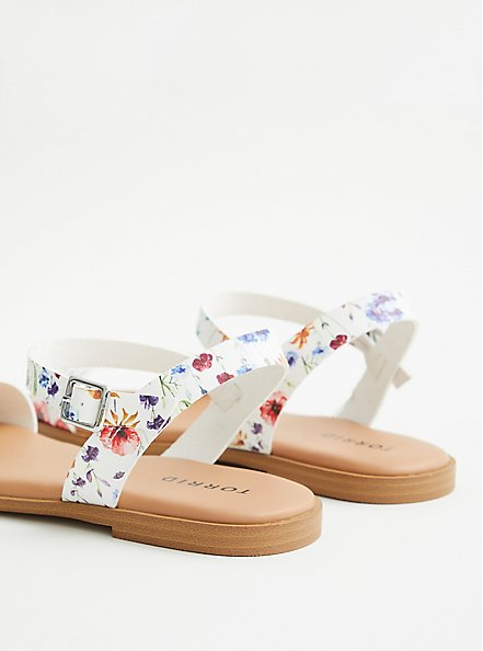 White Floral Faux Leather Gladiator Sandal (WW), FLORAL, alternate